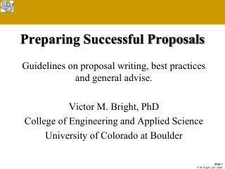 Preparing Successful Proposals