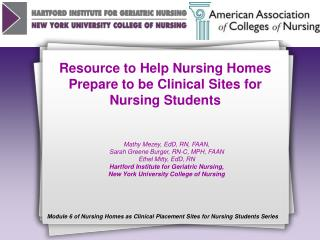Resource to Help Nursing Homes Prepare to be Clinical Sites for Nursing Students