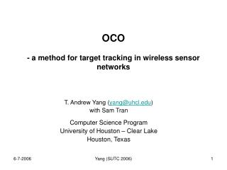 OCO  - a method for target tracking in wireless sensor networks