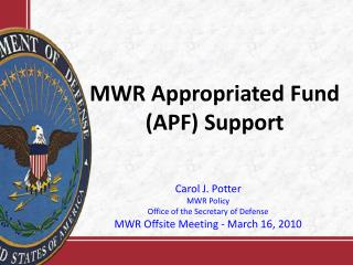 MWR Appropriated Fund (APF) Support
