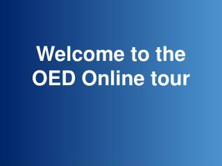 Welcome to the OED Online tour