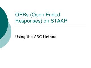 OERs (Open Ended Responses) on STAAR