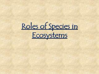Roles of Species in Ecosystems