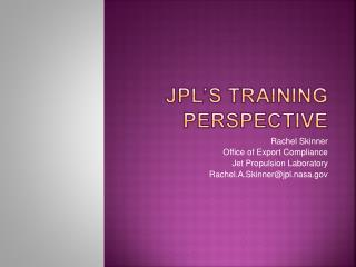 JPL's Training Perspective