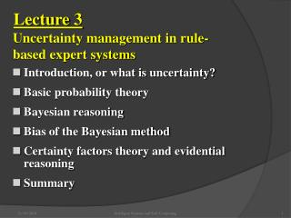 Introduction, or what is uncertainty? Basic probability theory Bayesian reasoning