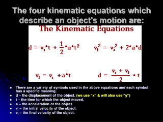 The four kinematic equations which describe an object's motion are: