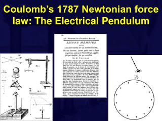 Coulomb's 1787 Newtonian force law: The Electrical Pendulum