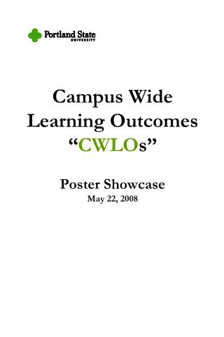 "Campus Wide  Learning Outcomes "" CWLO s"" Poster Showcase May 22, 2008"