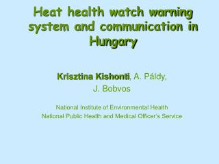 Heat health watch warning system and communication in Hungary