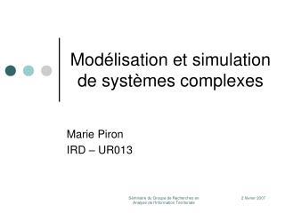 Mod lisation et simulation  de syst mes complexes