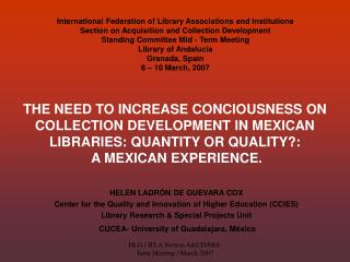 HELEN LADR N DE GUEVARA COX Center for the Quality and Innovation of Higher Education CCIES Library Research  Special Pr