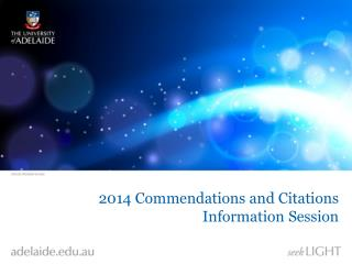 2014 Commendations and Citations Information Session