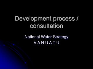 Development process / consultation