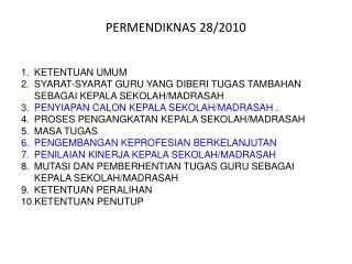 PERMENDIKNAS 28/2010