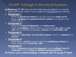 OLL#9: Voltage  in Electrical Systems