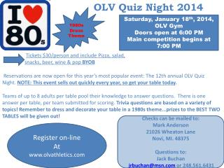 OLV Quiz Night 2014