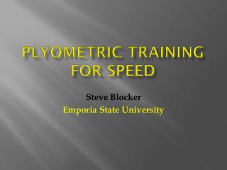 PlyOmetric  Training for speed