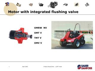 Motor with integrated flushing valve