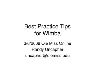 Best Practice Tips  for Wimba