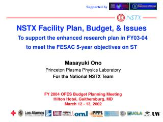 FY 2004 OFES Budget Planning Meeting Hilton Hotel, Gaithersburg, MD March 12 - 13, 2002
