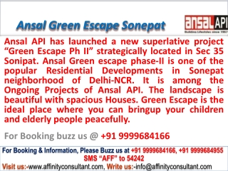 Ansal Green Escape Phase ii new project Sonepat @ 0999968416