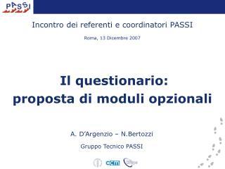 A. D'Argenzio – N.Bertozzi Gruppo Tecnico PASSI