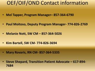 OEF/OIF/OND Contact information