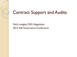 Contract Support and Audits