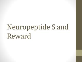 Neuropeptide S and Reward