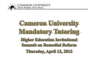 Cameron University Mandatory Tutoring