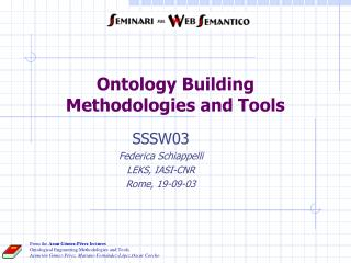 Ontology Building Methodologies and Tools
