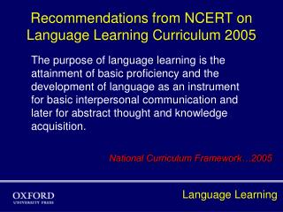 Recommendations from NCERT on  Language Learning Curriculum 2005