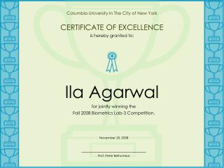 Columbia University In The City of New York CERTIFICATE OF EXCELLENCE