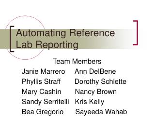 Automating Reference Lab Reporting