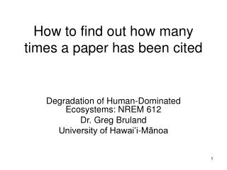 How to find out how many times a paper has been cited