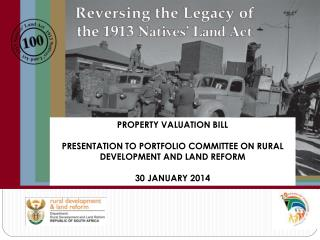 PROPERTY VALUATION BILL PRESENTATION TO PORTFOLIO COMMITTEE ON RURAL DEVELOPMENT AND LAND REFORM
