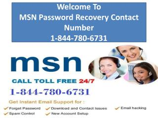 MSN Password Recovery Contact Number 1-844-780-6731