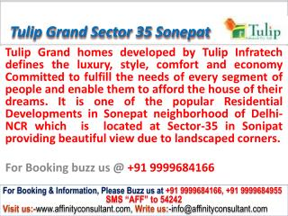 Tulip Grand apartments Sector 35 Sonepat @ 09999684166