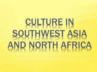 Culture iN southwest Asia and north Africa
