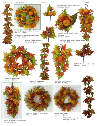 50693OR 60 �  Maple Berries & Pumpkin Garland     Pack: 3/18       $26.99ea