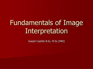 Fundamentals of Image Interpretation
