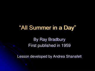 �All Summer in a Day�
