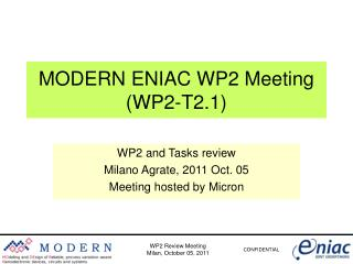 WP2 Review Meeting Milan, October 05, 2011