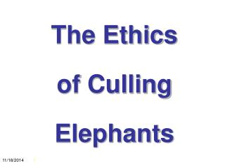 The Ethics  of Culling  Elephants