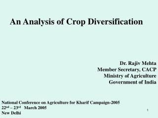 An Analysis of Crop Diversification