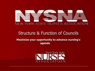Structure & Function of Councils   Maximize your opportunity to advance nursing's agenda