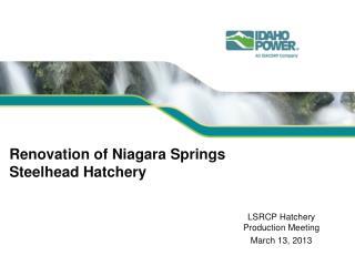 Renovation of Niagara Springs Steelhead Hatchery