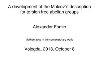 A development of the Malcev´s description for torsion free abelian groups