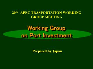 Working Group  on Port Investment