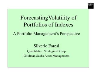 ForecastingVolatility of Portfolios of Indexes